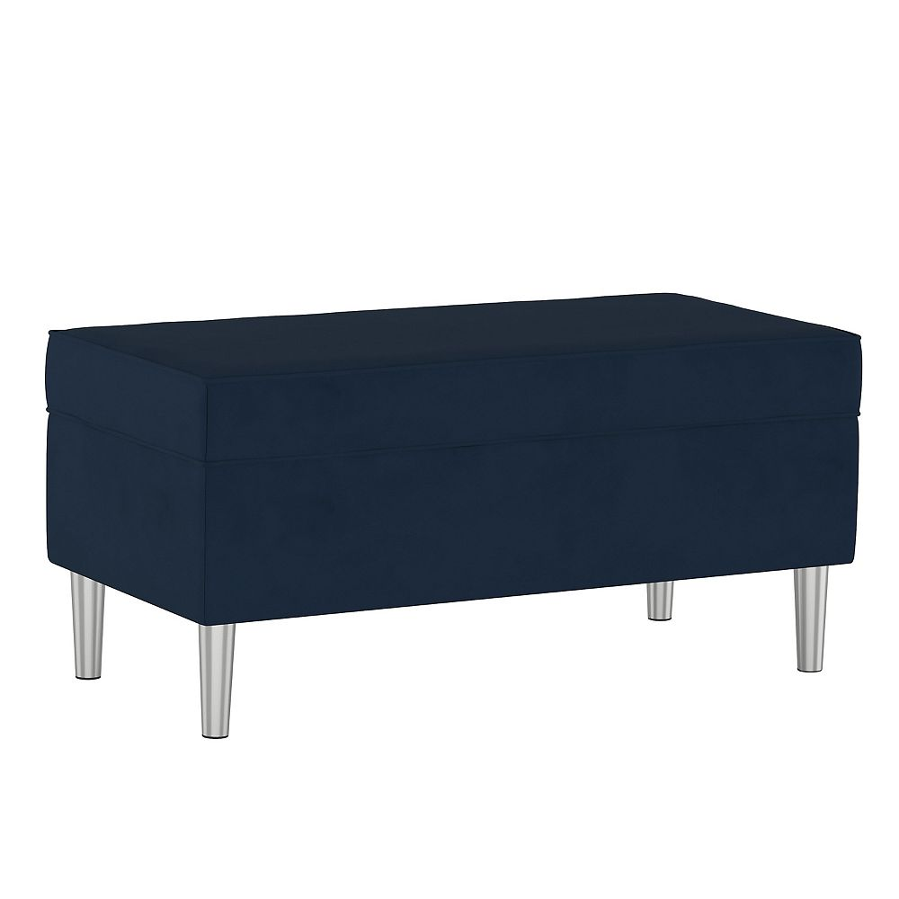 Skyline Furniture Blair Storange Bench in Velvet Navy with Silver Legs