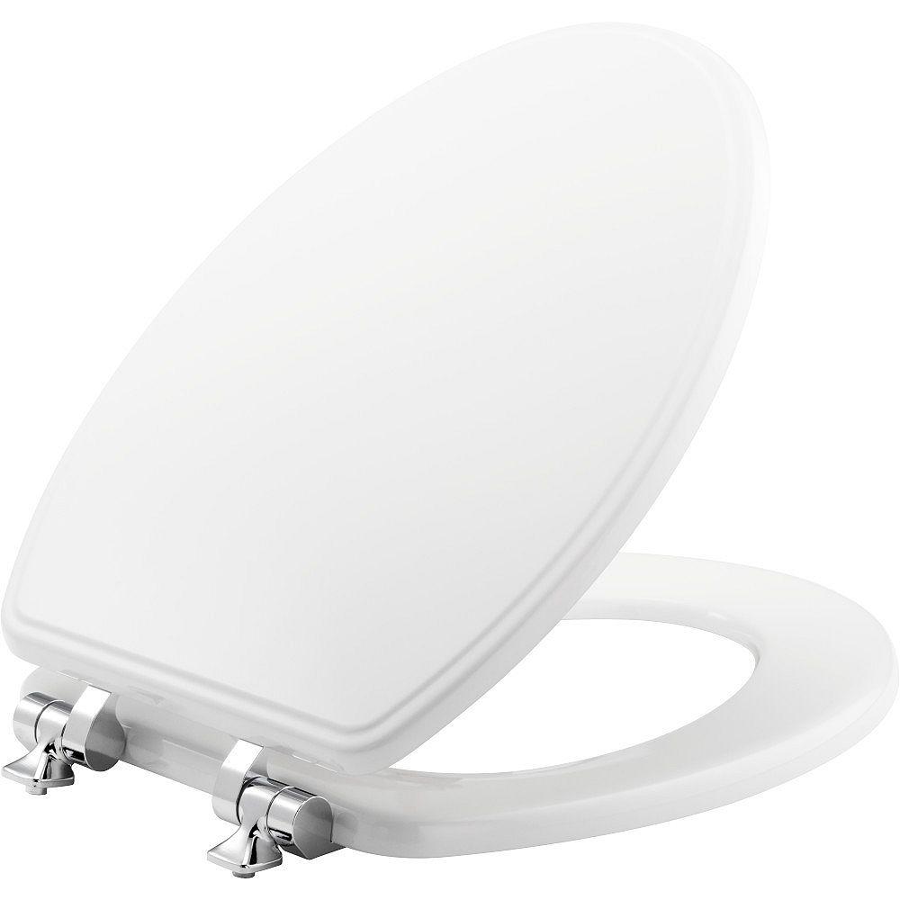 Bemis Siège de Toilette Allongé à Fermeture Lente et Avant Fermé Weston en Blanc Avec charnières Chromées