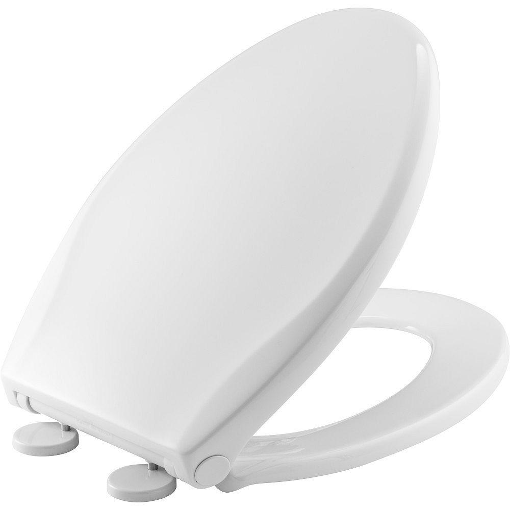Bemis Siège de Toilette Push n'Clean Allongé à Avant Fermé en Blanc