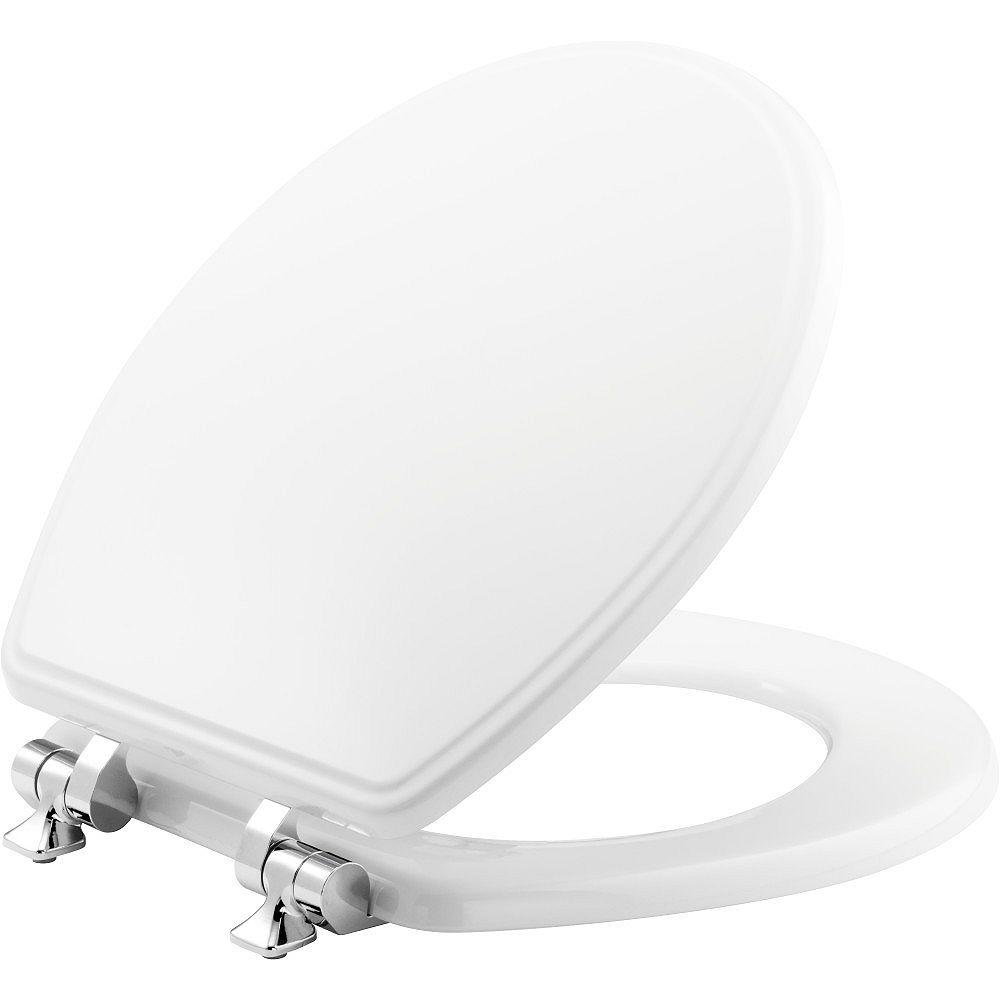Bemis Siège de Toilette Rond à Fermeture Lente et Avant Fermé Weston en Blanc Avec Charnières Chromées
