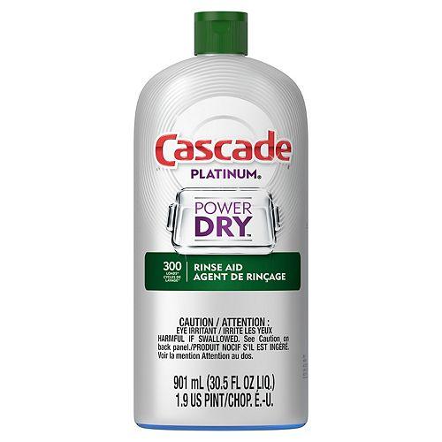 Cascade Platinum Dishwasher Rinse Aid, 901 mL