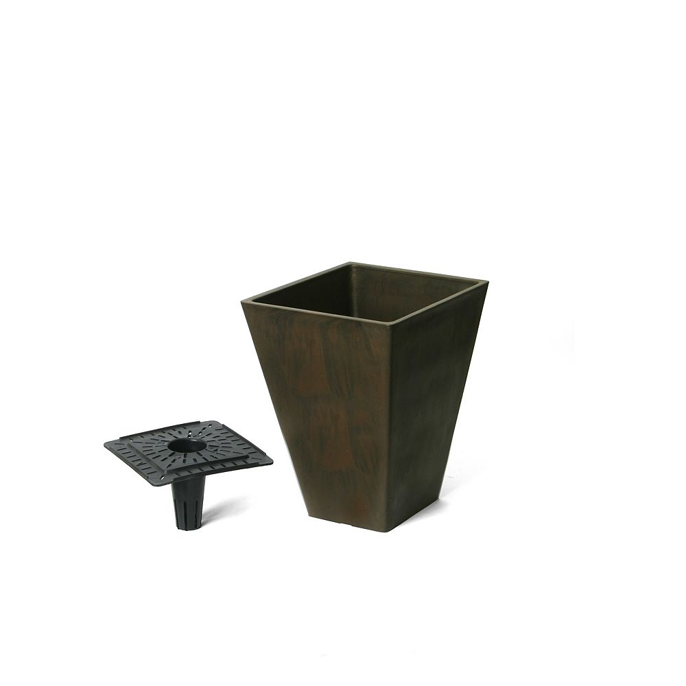 Home Depot Valencia Planter, Square Taper Planter with Watering Tray 10-In. by 13-In. Height, Chocolate Marble