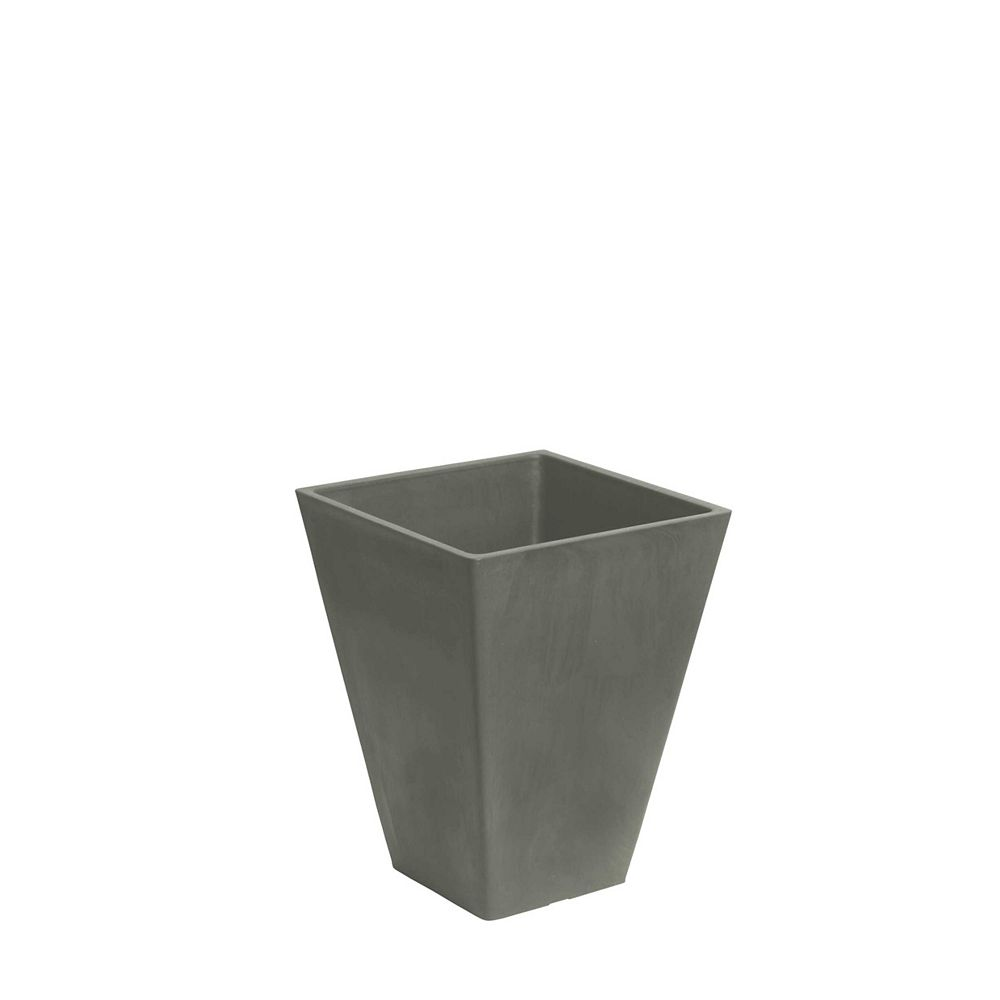 Home Depot Valencia Planter, Square Taper Planter with Watering Tray 10-In. by 13-In. Height, Concrete Gray