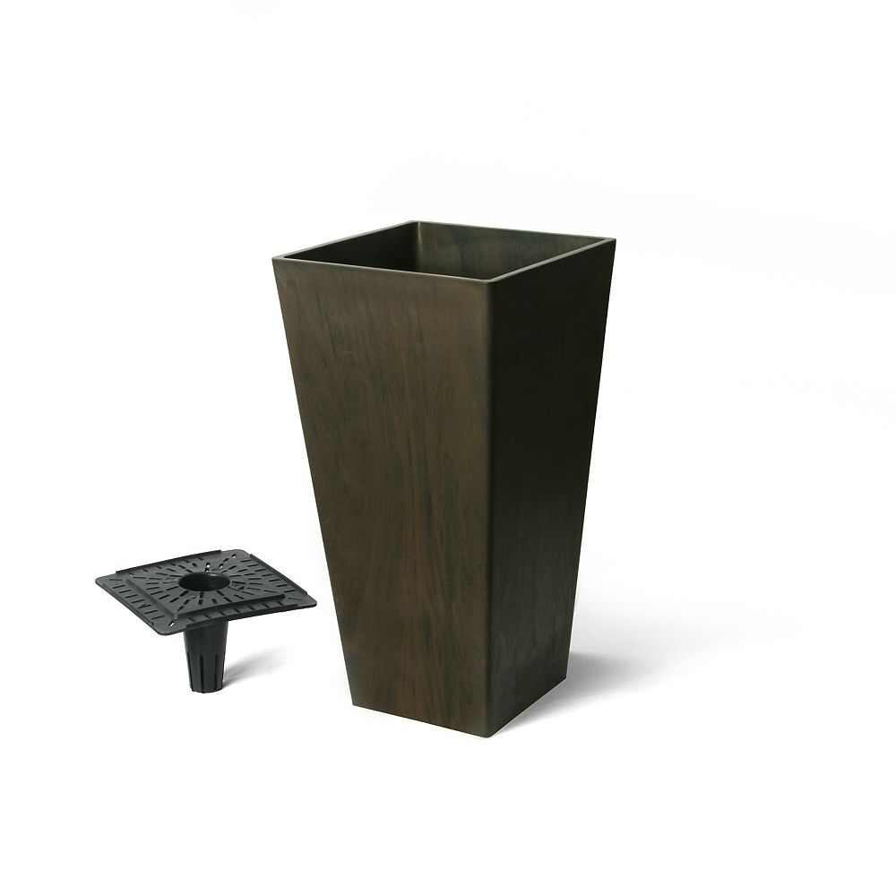 Home Depot Valencia Planter, Square Taper Planter with Watering Tray 10-In. by 20-In. Height, Chocolate Marble