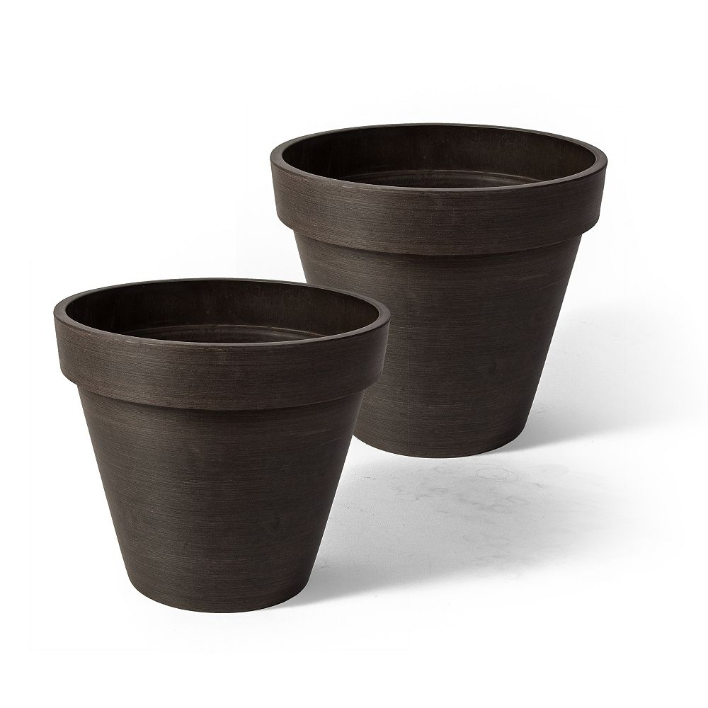 Home Depot Valencia Planter, Round Banded Planter, 10-In. Diameter by 8-In.H, Spun Chocolate, 2 pack