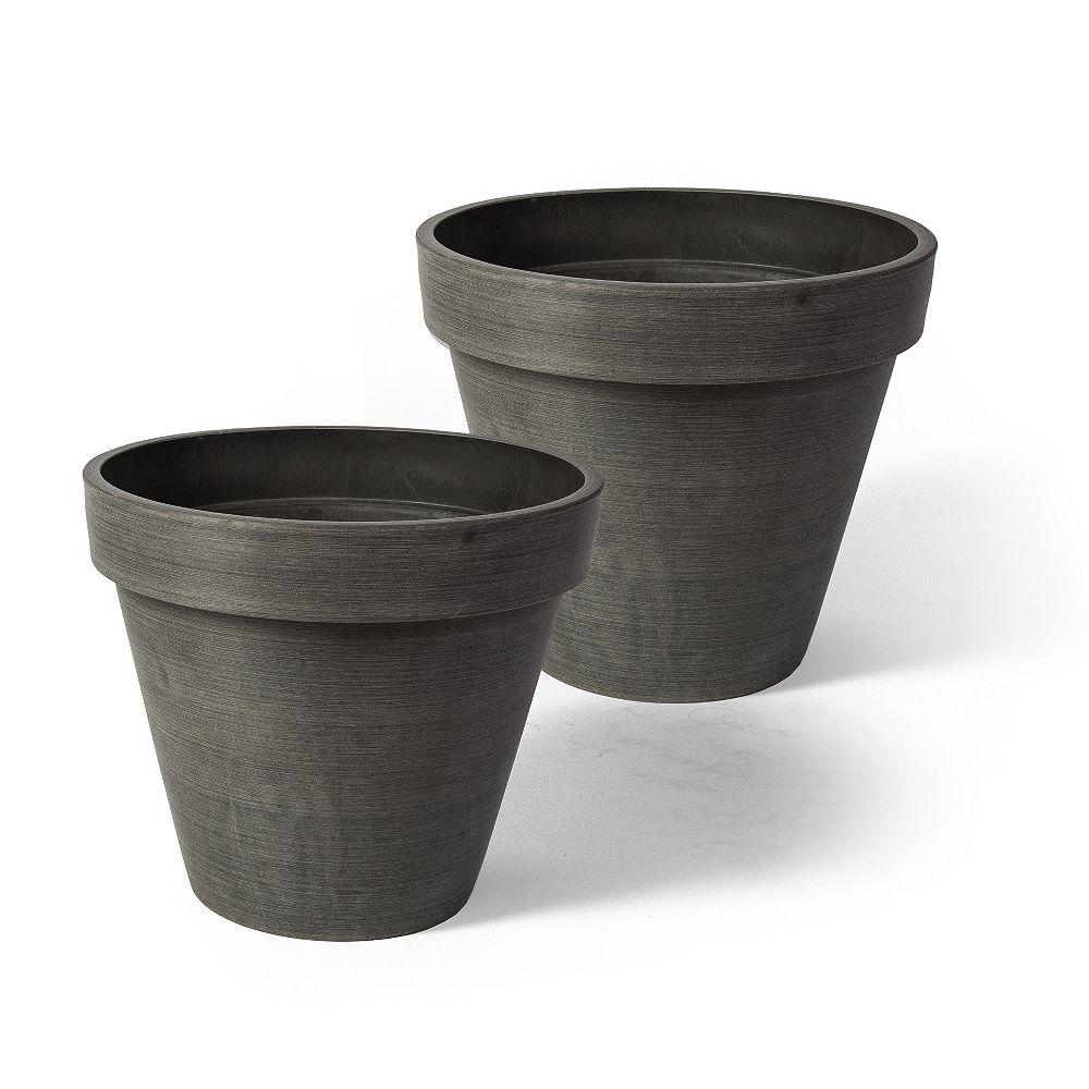 """Home Depot Jardinières rondes Valencia, 10"""" x 8"""", charbon, 2 mcx"""