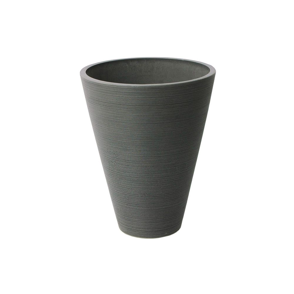 Home Depot Valencia Planter, Round Taper Ribbed Planter, 11.4-In. Diameter by 14-In., Charcoal