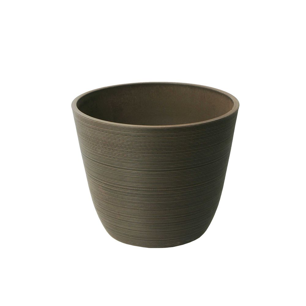 Home Depot Valencia Planter, Round Curve Planter 14-In. Diameter by 11-In, Ribbed Chocolate