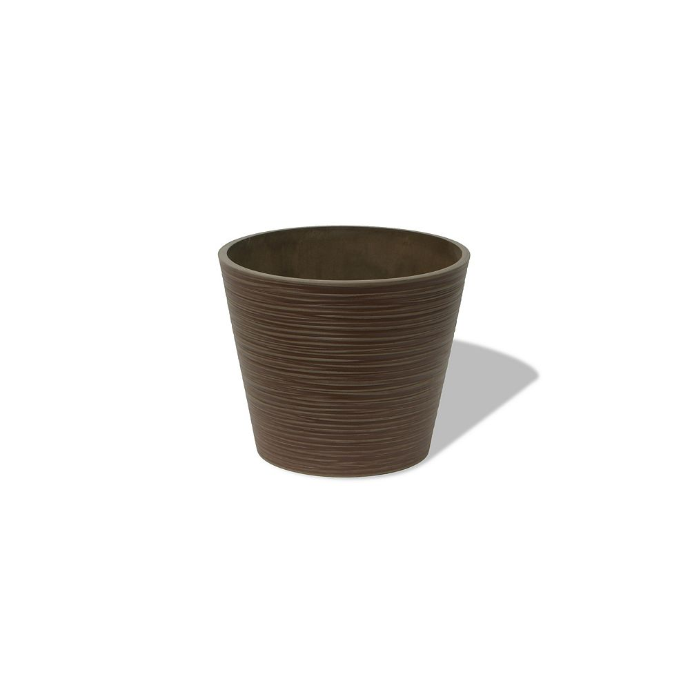 Home Depot Valencia Planter, Grooved Round Planter Pot, 12.2-In. Diamater by 10-In.H, Cedar