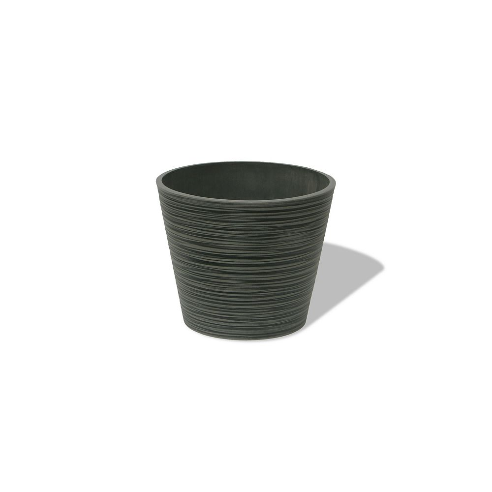 Home Depot Valencia Planter, Grooved Round Planter Pot, 12.2-In. Diamater by 10-In.H, Weathered Charcoal
