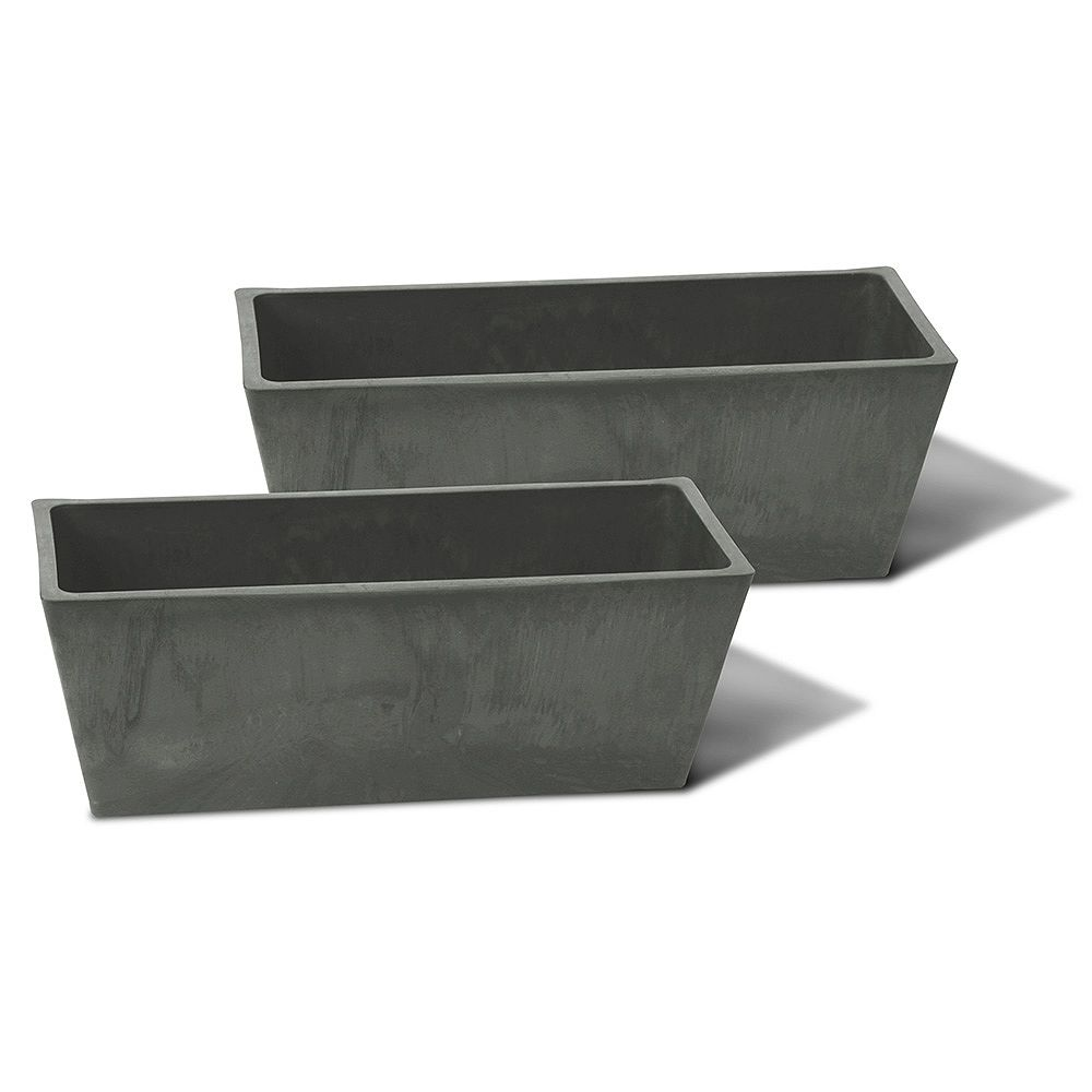 Home Depot Valencia Planter, Rectangle Windowsill Planter 14-In. L by 6-In. by 5.5-In., Slate, 2 PACK