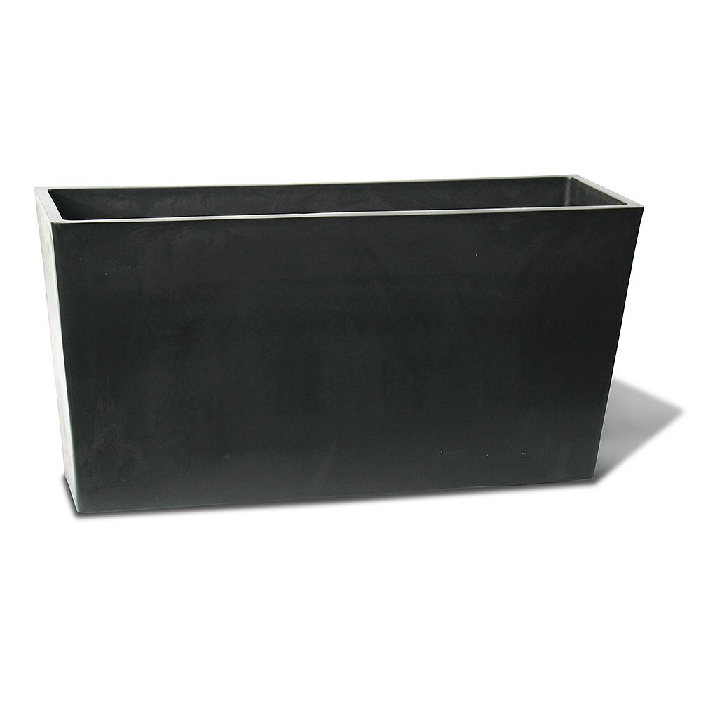Home Depot Valencia Planter, Rectangle Patio Planter 31-In. L by 10-In. by 15.6-In., Black
