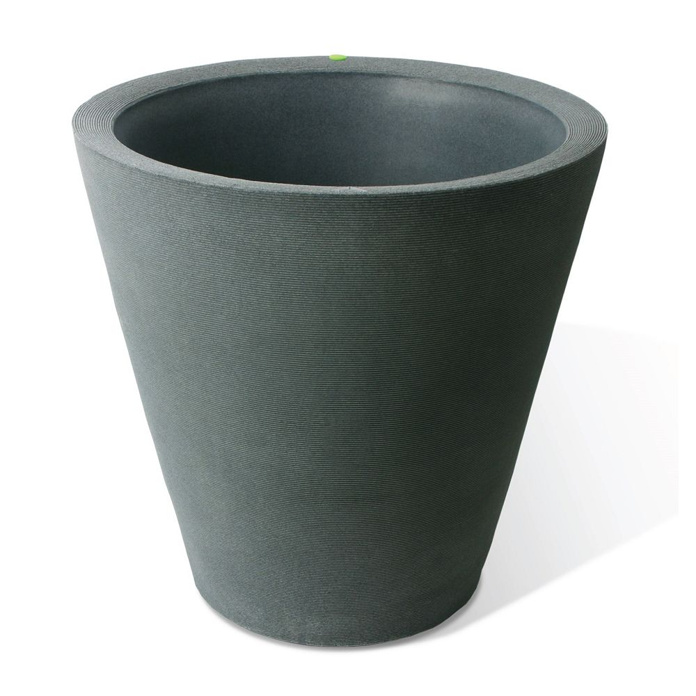 Home Depot Olympus Planter, Self-Watering Planter, 26x26-In., Coarse Ribbed Texture, Charcoalstone