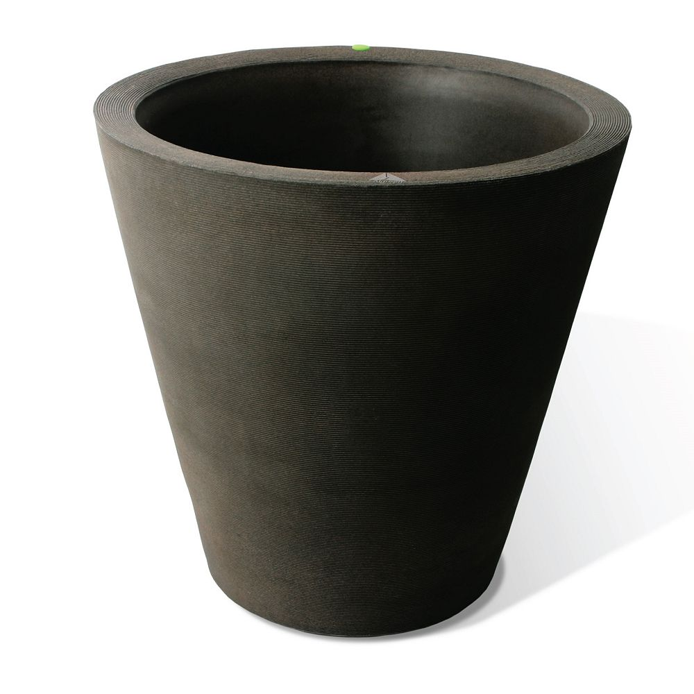 Home Depot Olympus Planter, Self-Watering Planter, 26-In. Height by 26-In., Coarse Ribbed Texture, Brownstone