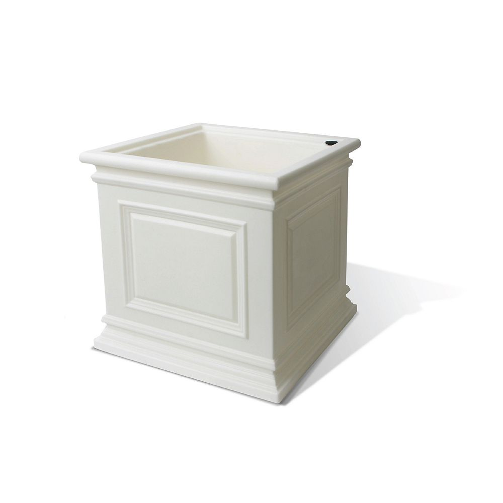 Home Depot Covington Planter, Self-Watering Planter, 16-In. by 16.3-In., White