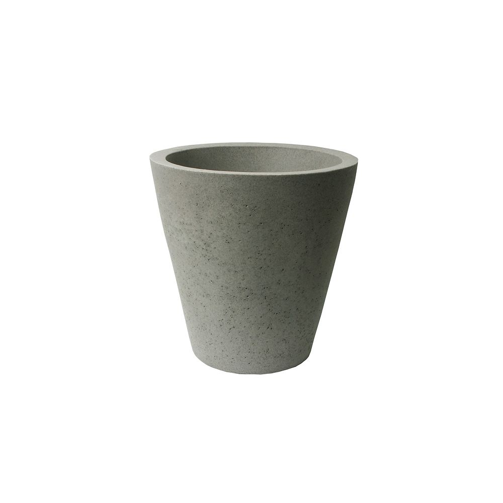 Home Depot Crete Self-Watering Planter, 16.5-In. Height by 16-In., Concrete Texture, Warm Gray