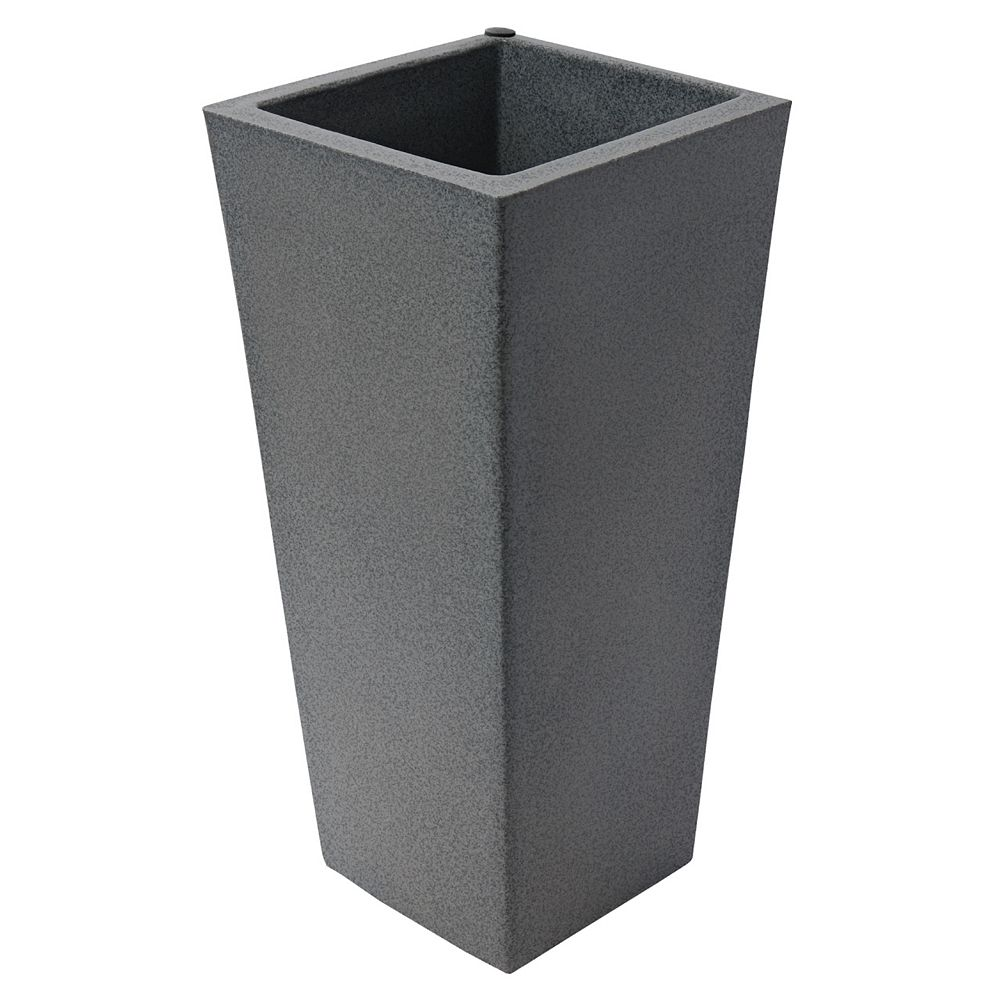 Home Depot Allegro Tall Square 27-In. Self-Watering Planter,  Warm Gray