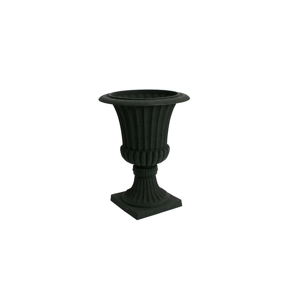 Landscape Basics Acerra Planter, Urn Planter 16.25-In. Diameter by 21.25-In. H, Black Stucco