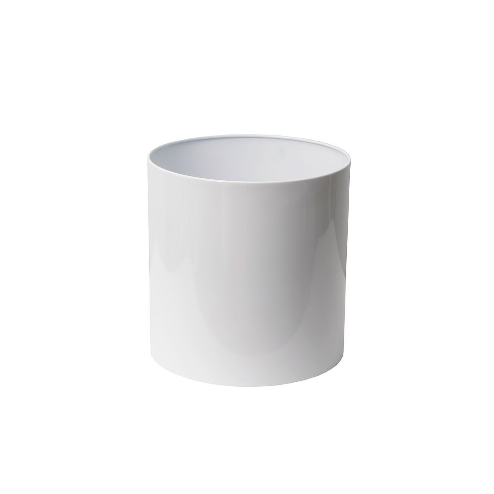 Home Depot Stainless Steel Planter, Straight Round, 12-In. by 12-In., White
