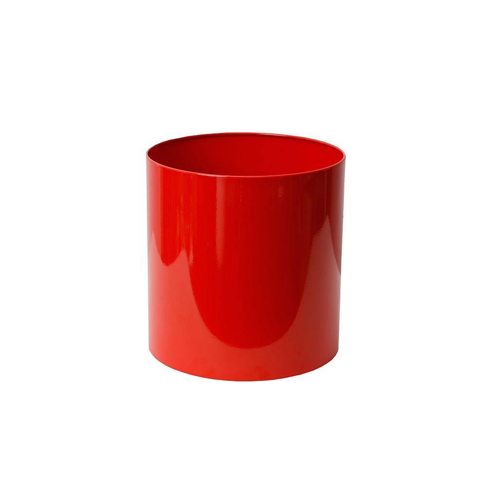 Home Depot Stainless Steel Planter, Straight Round, 12-In. by 12-In., Red