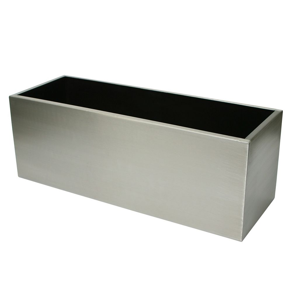 Home Depot Stainless Steel Planter, Trough Planter, 28-In.Length by 10-In.Width x 10-In.Height