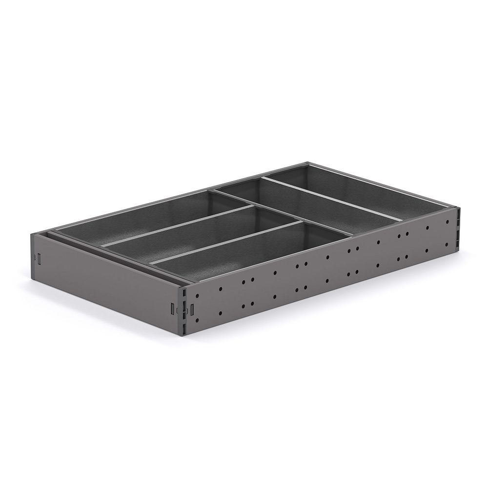 Richelieu 19 5/8 in (500 mm) ORGANIZ-R Kit for Cutlery, Versatile kitchen drawer organizer, Anthracite