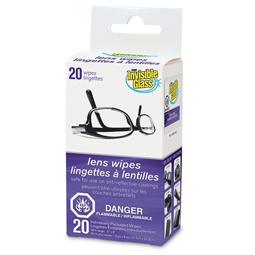 Invisible Glass INVISIBLE GLASS Lens Wipes 20Pk
