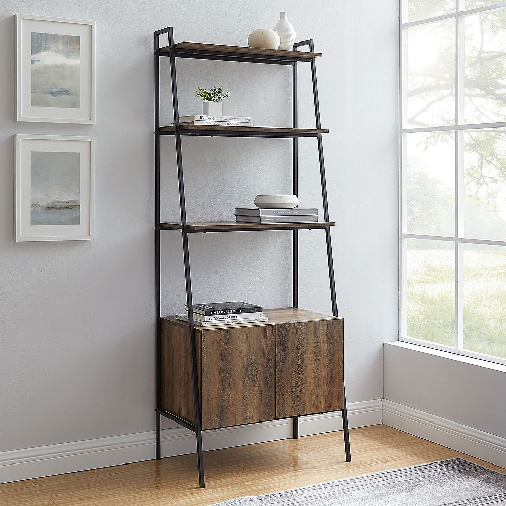 "Welwick Designs 72"" Industrial Modern Ladder Bookcase w/ Cabinet - Reclaimed Barnwood"