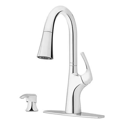 Seahaven Single-Handle Pull-Down Sprayer Kitchen Faucet with Top Pfit Installation in Polished Chrome