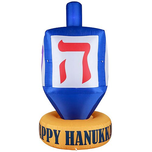 Giant Hanukkah Inflatable Dreidel - With Built-in Bulbs, Tie-Down Points, and Powerful Built in Fan