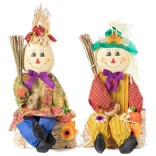 Set of 2 Garden Scarecrows Sitting on Hay Bale