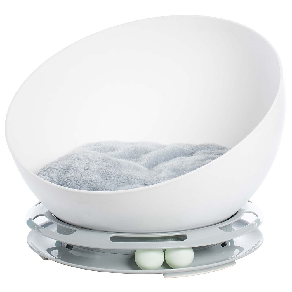 PawsMark Plastic Bowl Shaped Sleeping Bed House Cat Cave Lounge with Ball Toy