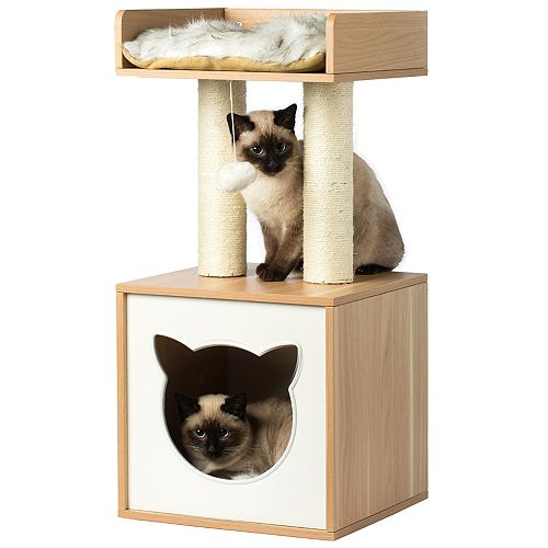 PawsMark Cat Tree Play House Condo Cube Cave, Platform, Scratcher Post and Ball Toy
