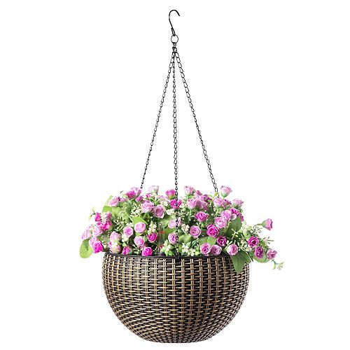"10"" Self Watering Bronze Hanging Basket Flower Planter"