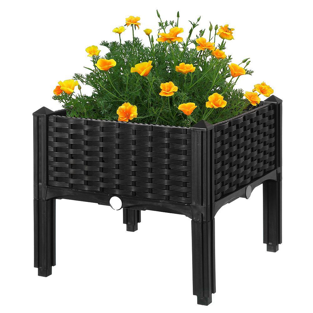 Gardenised Rattan Raised Garden Bed Flower Planter