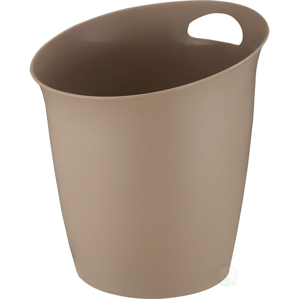 Basicwise Small Beige Plastic Wastebasket with Handle