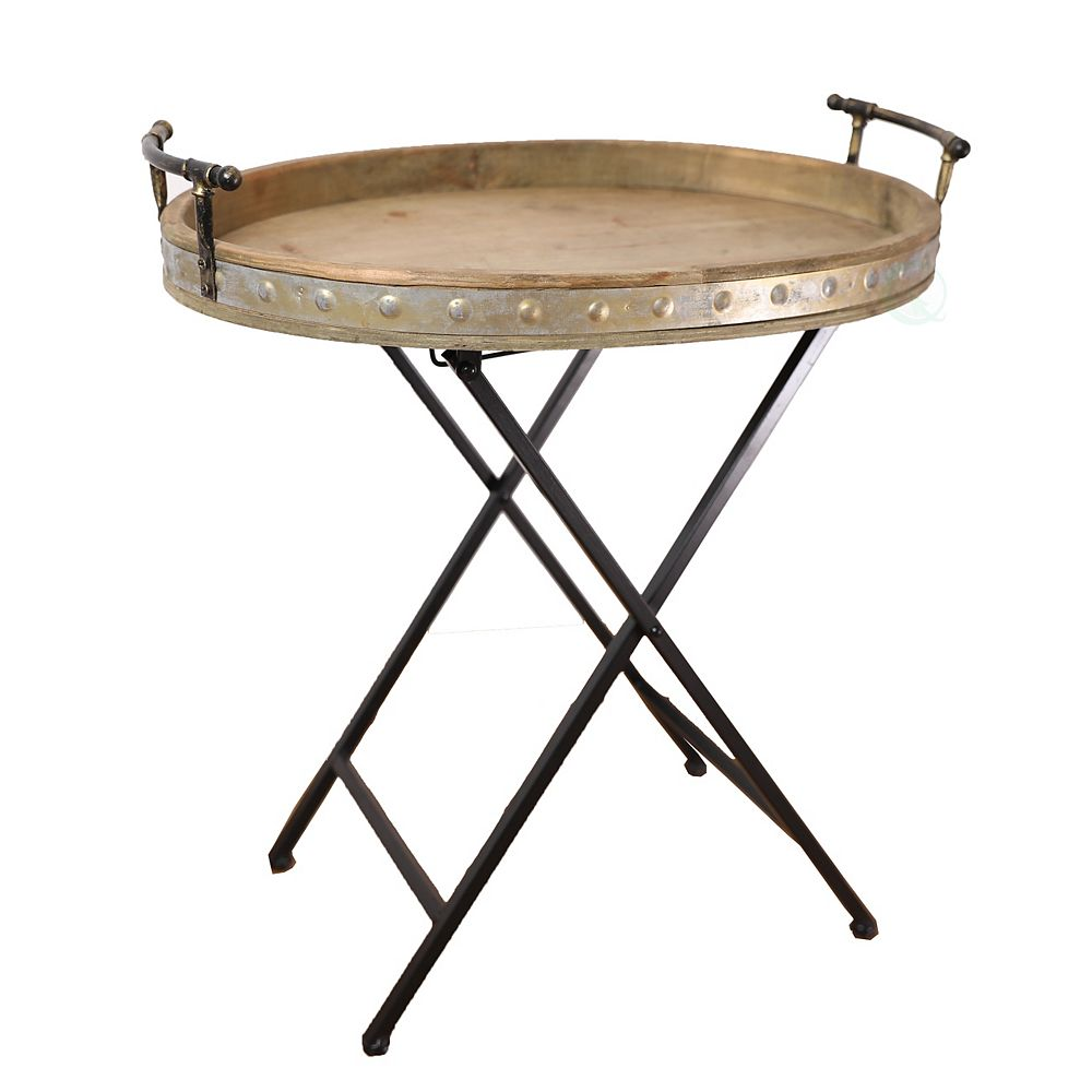 Vintiquewise Metal Serving Tray with Stand, Folding Snack Table
