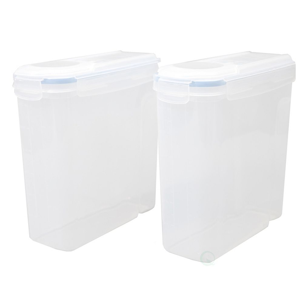 Basicwise Set of 2 Large BPA-Free Plastic Food Cereal Containers, Airtight Spout Lid