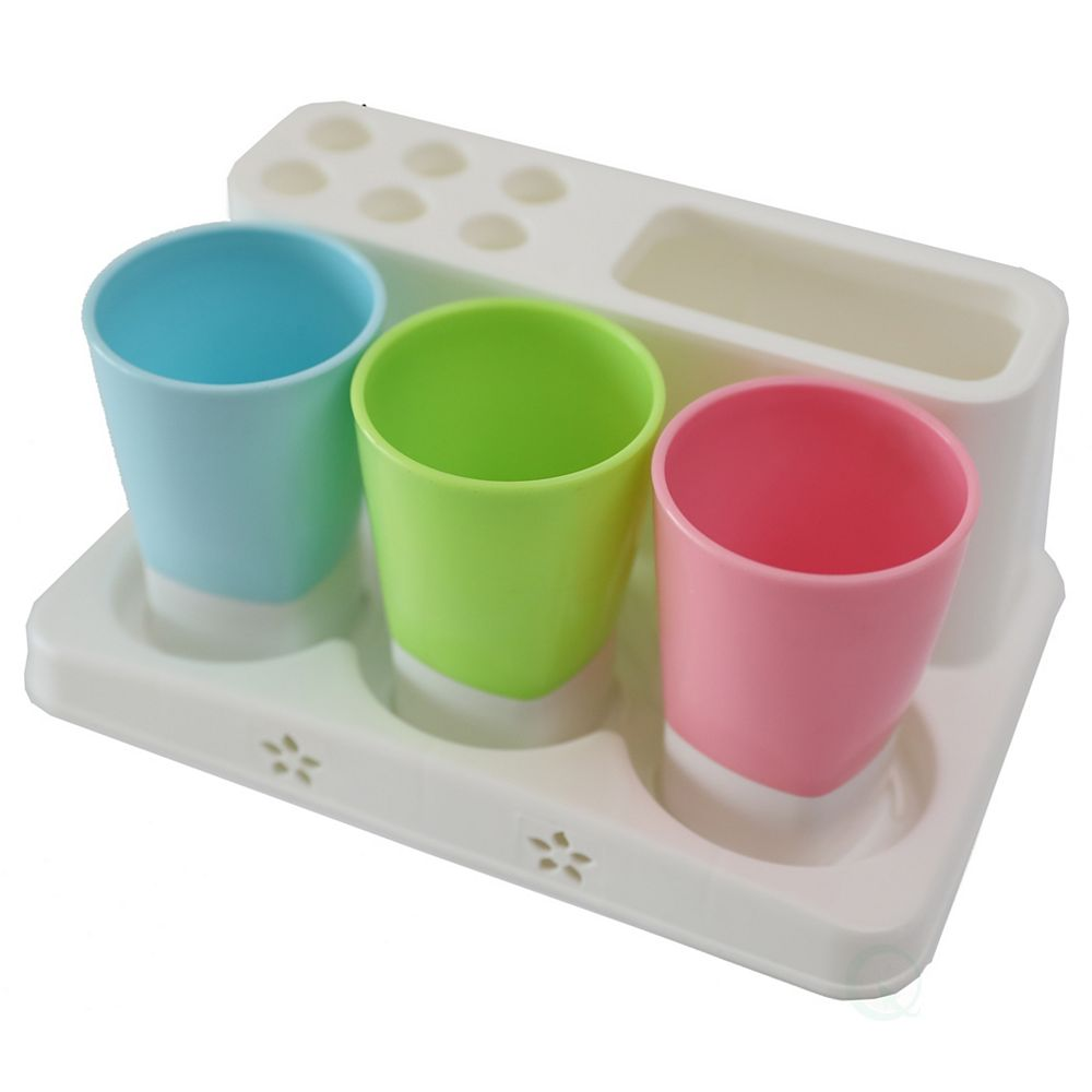 Basicwise Family Size Toothbrush and Toothpaste Holder with 3 Cups