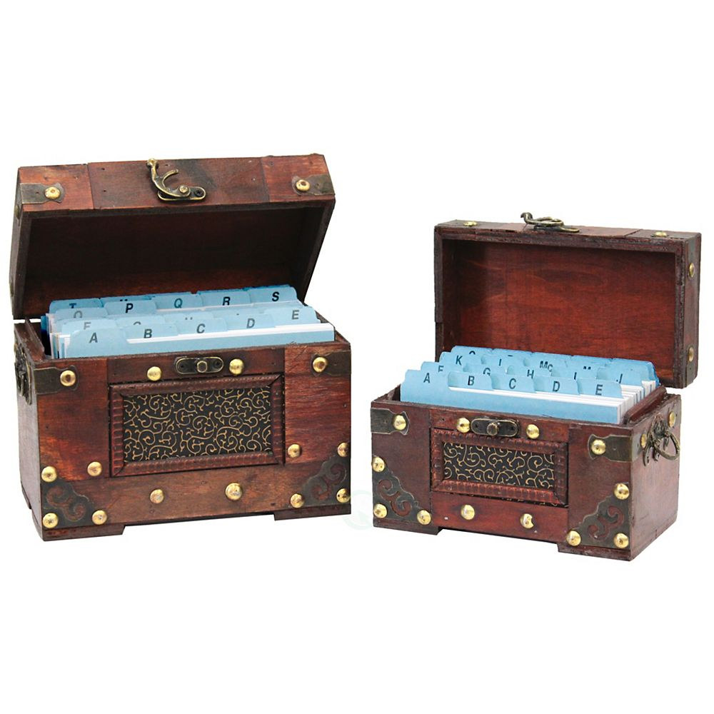 Vintiquewise Rustic Studded Index/Recipe Card Box with Antiqued Latch, Set of 2 Sizes