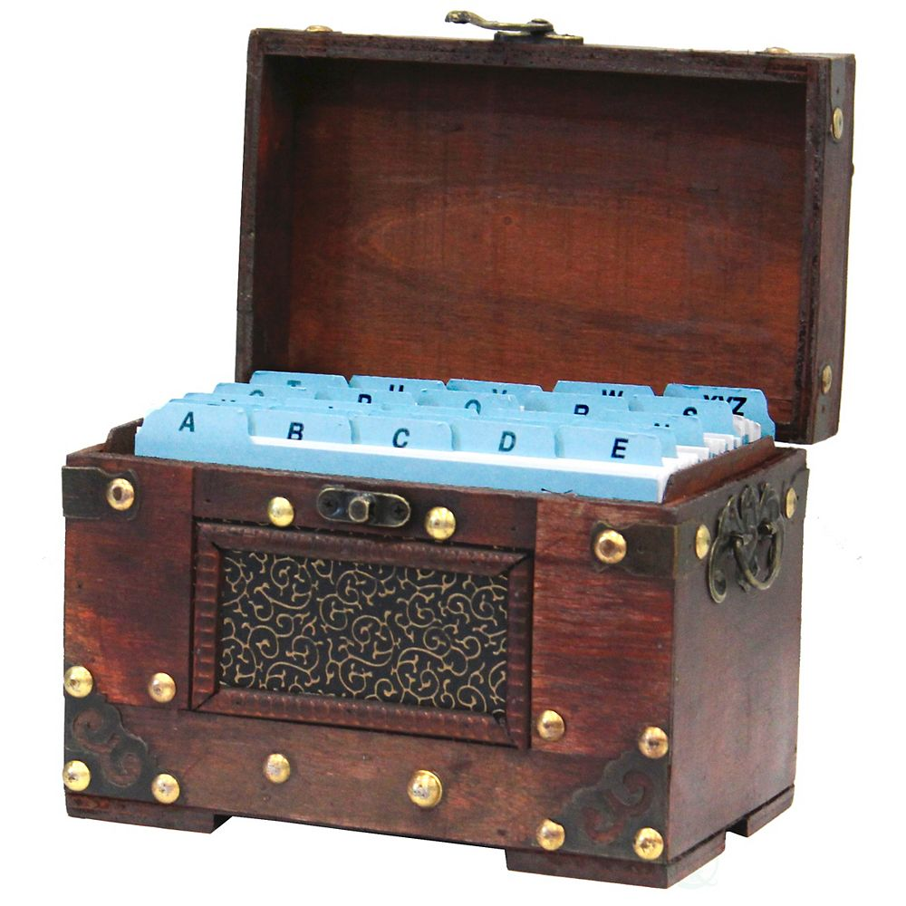 Vintiquewise Rustic Studded Index/Recipe Card Box with Antiqued Latch, 4 x 6 Cards