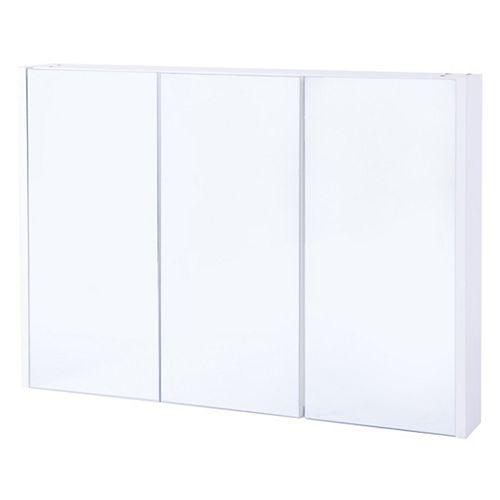 3 étagères blanc mur Mounted Salle de bains / Salle d'eau Mirrored porte Vanity Cabinet pneumologie