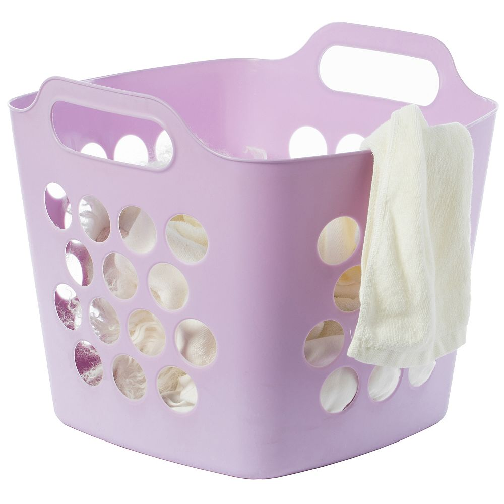 Basicwise Flexible Plastic Carry Laundry Basket Holder Square Storage Hamper with Side Handles, Purple