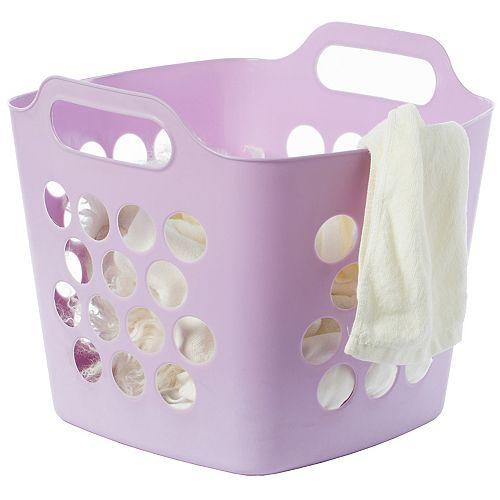 Carry flexible panier à linge plastique Porte-carré avec poignées Hamper rangement latérales, Violet