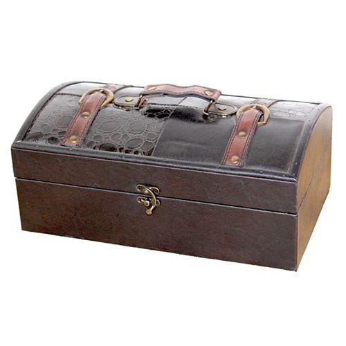 "Vintiquewise ""Leather Trunk, Designer Treasure Chest (Royal,"""