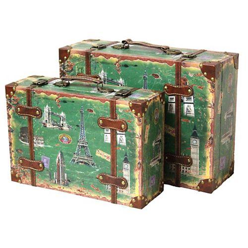 Vintage Style European Luggage Suitcase, Set of 2