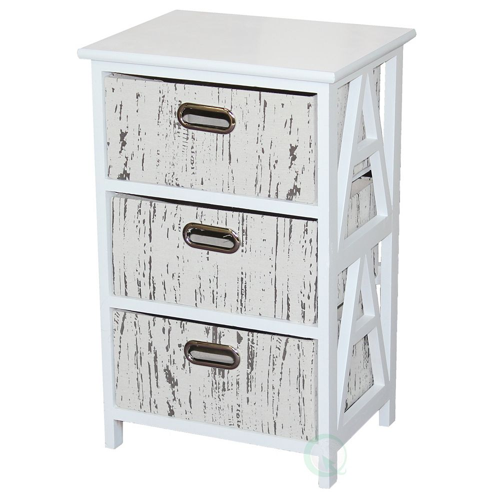 Vintiquewise Antique Wood Storage Chest Nightstand with 3 Fabric Drawers