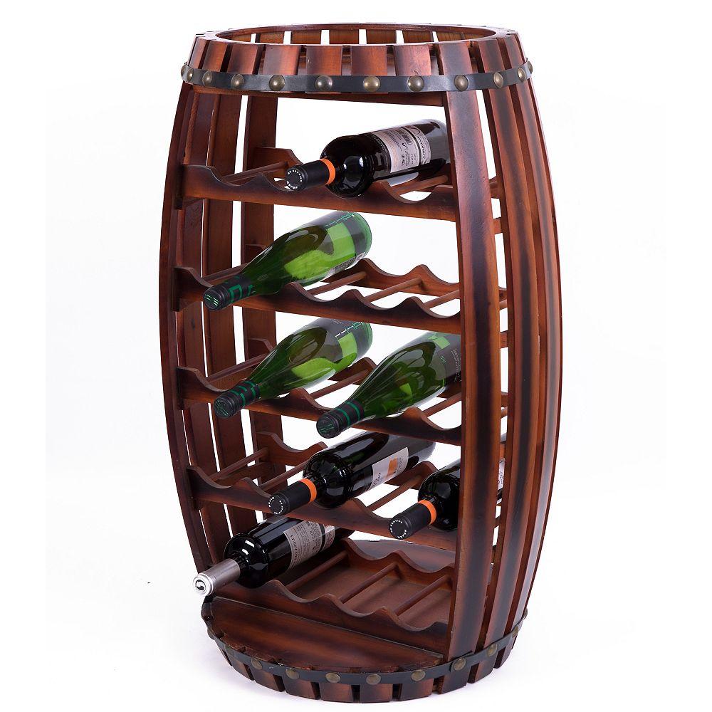 Vintiquewise Grand tonneau en bois en forme de 23 bouteilles de vin rack