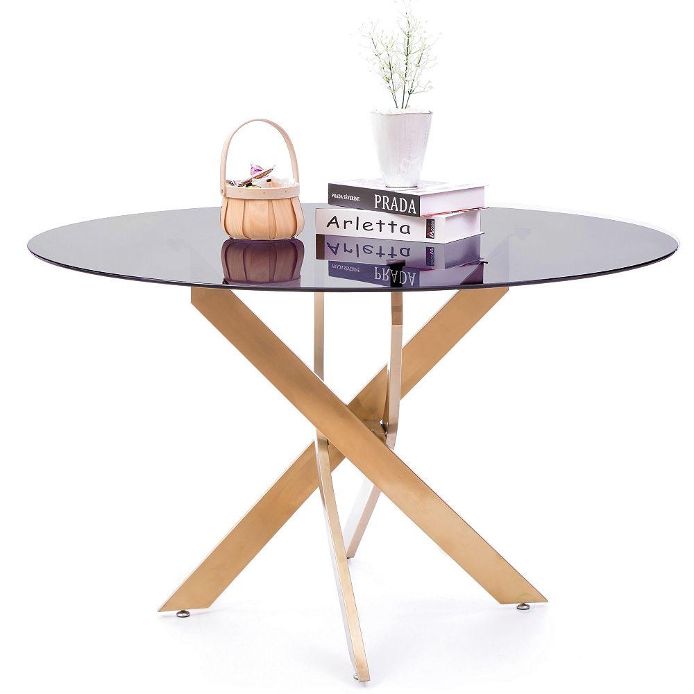 Bold Tones Acier Or ronde en verre fumé inoxydable métal moderne Table à manger