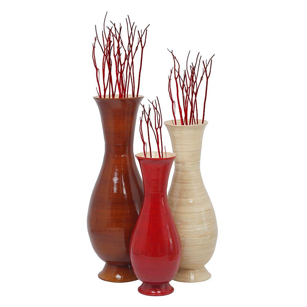 Uniquewise Ensemble haut de 3 Tri couleurs et tailles Handmade Modern Bamboo Floor Vas, Brown, Naturel et rouge